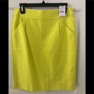 J Crew pencil skirt size 4 NWT mustard color